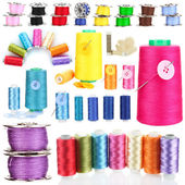 Collage of bright bobbin threads isolated on white — Stock Photo