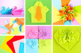 Collage of different origami papers close-up — 图库照片