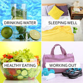 Collage of healthy lifestyle — Stok fotoğraf