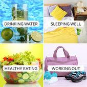 Collage of healthy lifestyle — Stok fotoğraf