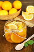 Tasty lemon jam on table close-up — Stock Photo