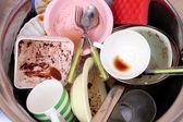 Kitchen utensils need wash close up — Stock Photo