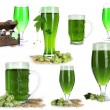 Stock Photo: Collage of green beer, isolated on white. St. Patrick's Day