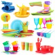 Bright plastic tableware isolated on white — Stock Photo #41337863
