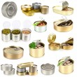 Collage of tin cans with food isolated on white — Stock Photo #41338065
