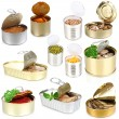 Collage of tin cans with food isolated on white — Stock Photo #41338095