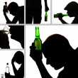 Stock Photo: Collage of alcoholism close-up