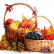 Stock Photo: Beautiful autumn harvest in baskets and leaves isolated on white