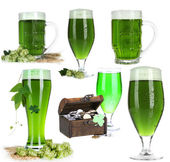 Collage of green beer, isolated on white. St. Patrick's Day — Stock Photo