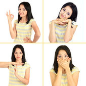 Collage of emotional young woman isolated on white — Stock Photo