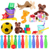 Collage of children toys isolated on white — Stock Photo