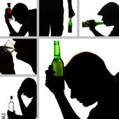 Collage of alcoholism close-up — Stock Photo