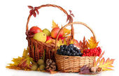 Beautiful autumn harvest in baskets and leaves isolated on white — Stock Photo
