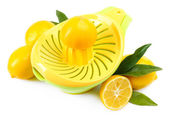Citrus press and lemons isolated on white — 图库照片