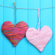 Decorative hearts on wooden background — Stock Photo #41472523