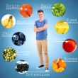 Collage of the most useful foods for human — Stock Photo #41510907