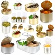 Stock Photo: Collage of tin cans with food isolated on white