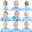 Collage of handsome emotional misolated on white — Stock Photo #41511477