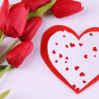 Paper hearts with flowers close up — Stock Photo #41518107