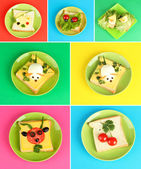 Collage of fun food for kids — Stockfoto