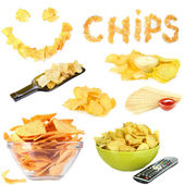 Collage of  tasty potato chips isolated on white — Stock Photo