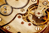 Clockwork details, pinions and wheels closeup — Foto Stock