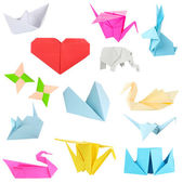 Collage of different origami papers isolated on white — Stock Photo