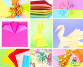 Collage of different origami papers close-up — Stock fotografie