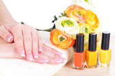 Beautiful woman hands with french manicure and flowers on table on white background — Foto Stock