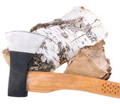 Ax and firewood, isolated on white — Photo