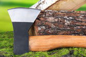 Ax and firewood on green grass, on nature background — Stok fotoğraf