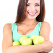 Stock Photo: Beautiful young womwith green apples isolated on white