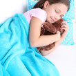 Stock Photo: Beautiful little girl sleeping, close-up