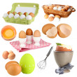 Stock Photo: Collage of eggs isolated on white