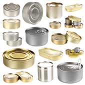 Collage of tin cans with food isolated on white — Stock Photo