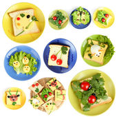 Collage of fun food for kids isolated on white — Stock Photo