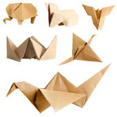 Collage of different origami papers isolated on white — Foto de Stock