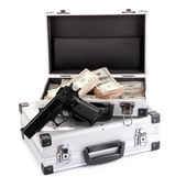 Cases with money and guns, isolated on white — Foto Stock