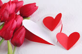Paper hearts with flowers close up — Foto de Stock