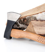 Ax and firewood, isolated on white — Stockfoto