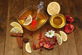 Sweet honey on wooden table — Foto Stock