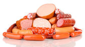 Lot of different sausages isolated on white — Stock Photo