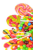 Different colorful fruit candy close-up — Stockfoto