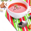 Stock Photo: Tasty tomato soup, isolated on white