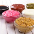 Stock Photo: Various sauces on table close-up