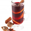 Stock Photo: Mulled wine with nuts and spices isolated on white