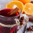 Stock Photo: Mulled wine with oranges and spices on table close up