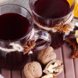 Stock Photo: Mulled wine with oranges and nuts on table close up