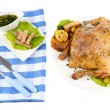 Composition with Whole roasted chicken with vegetables, color napkin, on plate, isolated on white — Stock Photo #41768153