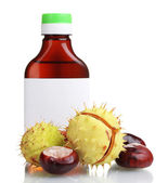 Green and brown chestnuts and medical bottle isolated on white — Stock Photo